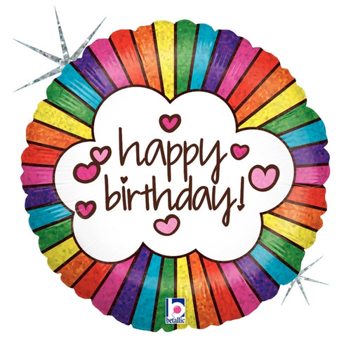 Retro Rainbow Happy Birthday Mylar Balloon