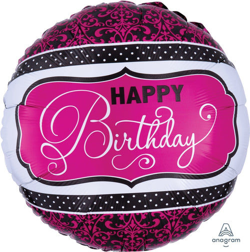Pink & Black Happy Birthday Mylar Balloon 18""