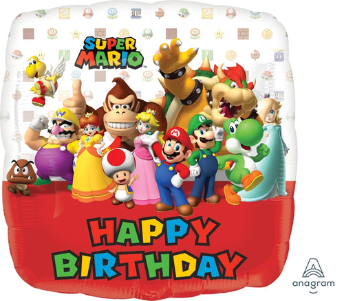 Mario Bros Happy Birthday Mylar Balloon 18""