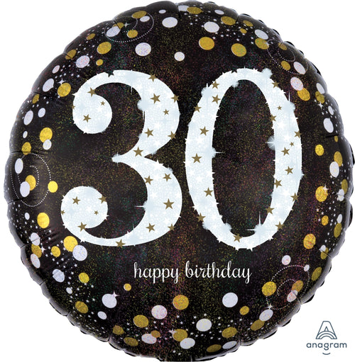 Sparkling 30th Birthday Mylar Balloon 18""