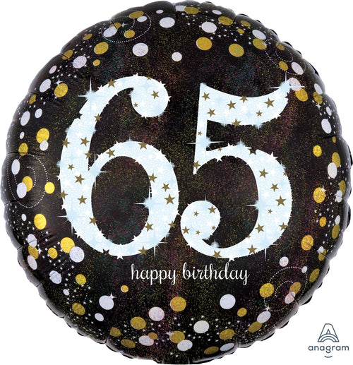 Sparkling 65th Birthday Mylar Balloon 18""