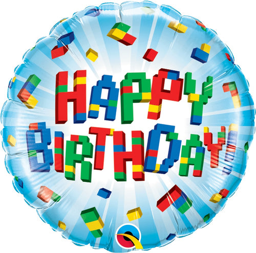 Birthday Exploding Blocks Mylar Balloon 18""