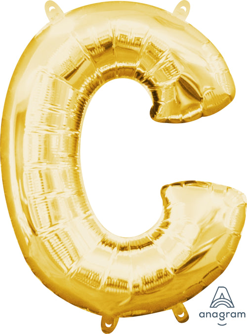Gold Letter C Air Filled Balloon 16in