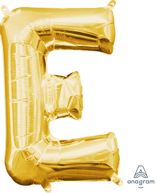Gold Letter E Air Filled Balloon 16in