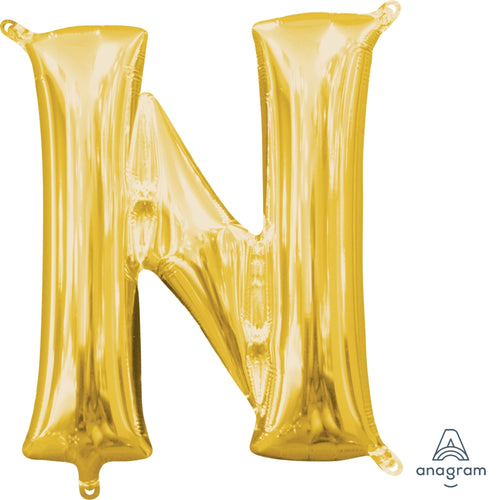 Gold Letter N Air Filled Balloon 16in