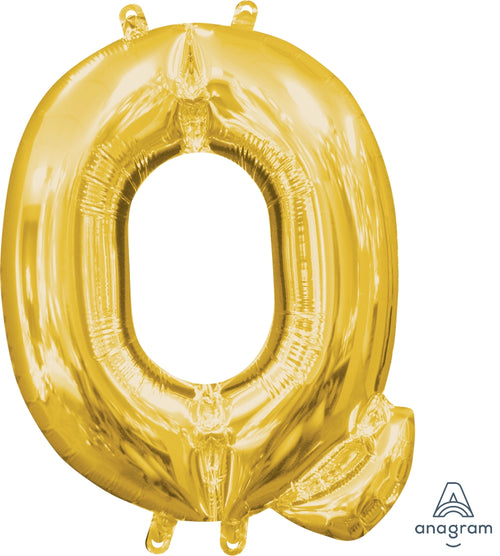Gold Letter Q Air Filled Balloon 16in