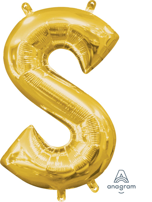 Gold Letter S Air Filled Balloon 16in