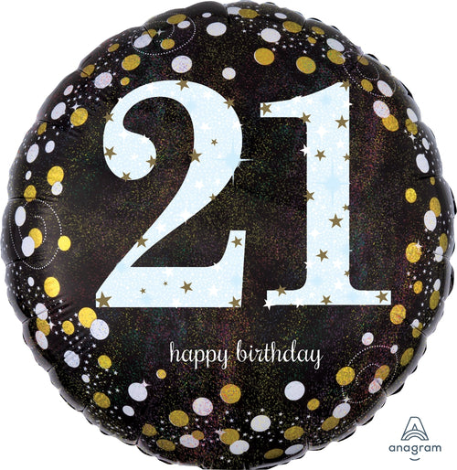 21st Birthday Sparkling Mylar Balloon 18""
