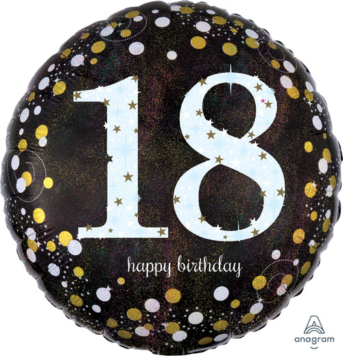 18th Sparkling Birthday Mylar Balloon 18""
