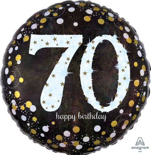 Sparkling 70th Birthday Mylar Balloon 18""