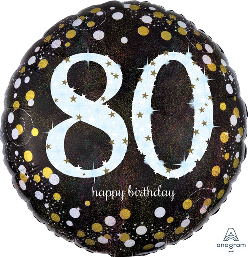 Sparkling 80th Birthday Mylar Balloon 18""