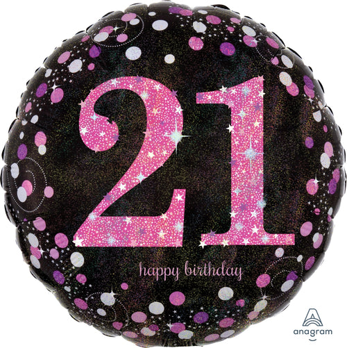 21st Birthday Pink Celebration Mylar Balloon 18""