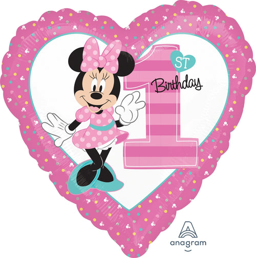Minnie 1st Birthday Mylar Heart Balloon 18""