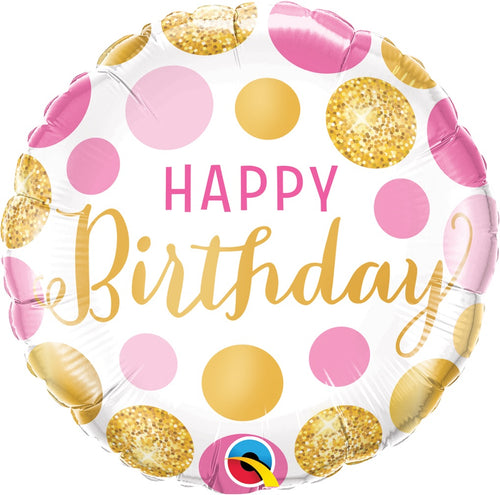 Birthday Pink & Gold Dots Mylar Balloon 18""