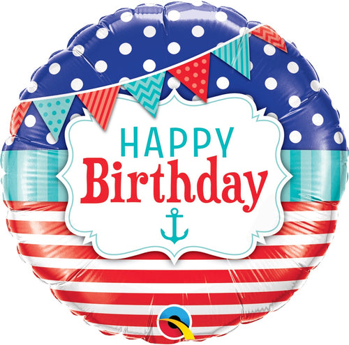 Nautical Birthday Mylar Balloon 18""