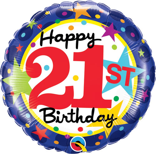 21st Birthday Stars Mylar Balloon 18""
