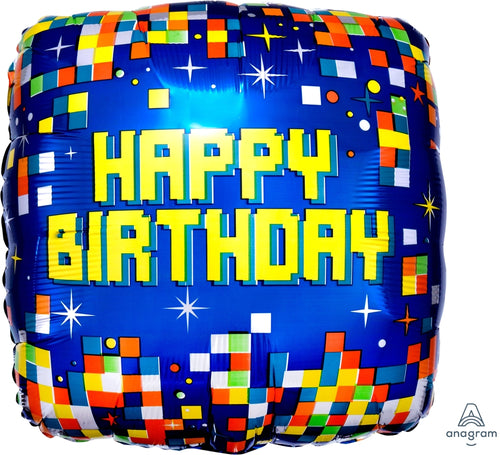 Birthday Pixels Mylar Balloon 18""