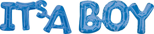 Air-Filled Blue It's A Boy Letter Balloon Banners 2ct