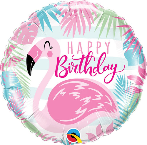 Pink Flamingo Birthday Mylar Balloon 18""