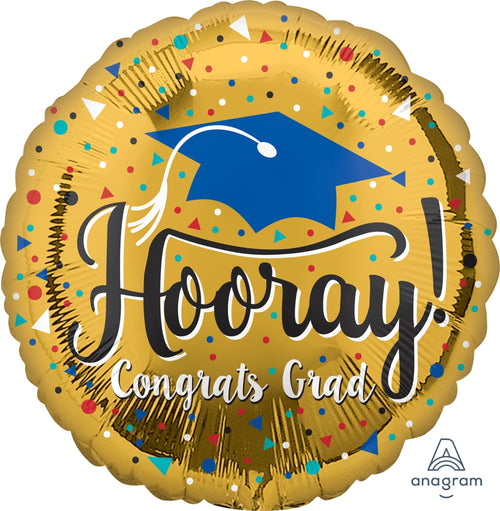 Hooray Grad Gold Mylar Balloon 18""
