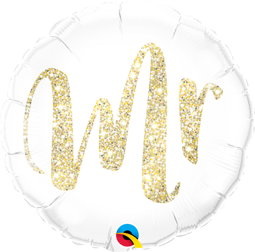 Mr. Glitter Gold Balloon 18""
