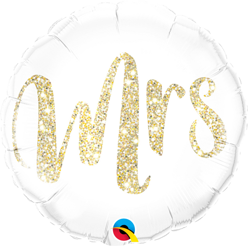 Mrs. Glitter Gold Balloon 18""