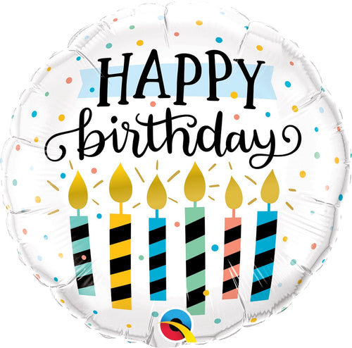Birthday Candles & Dots Mylar Balloon 18""