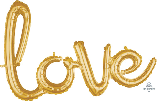 Air Filled Gold LOVE Phrase Balloon