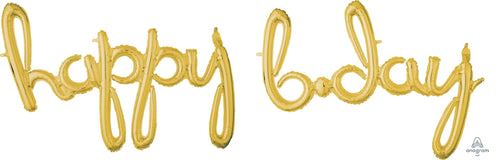 Air-Filled Gold Happy B-Day Cursive Letter Balloon Banners 2pc