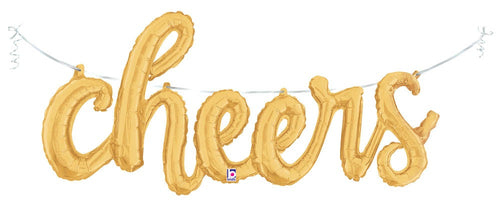 Air-Filled Gold Cheers Cursive Letter Balloon Banner