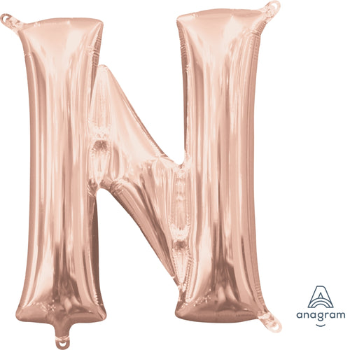 Rose Gold Letter N Air Filled Balloon 16""