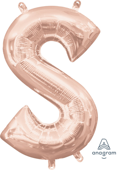Rose Gold Letter S Air Filled Balloon 16""
