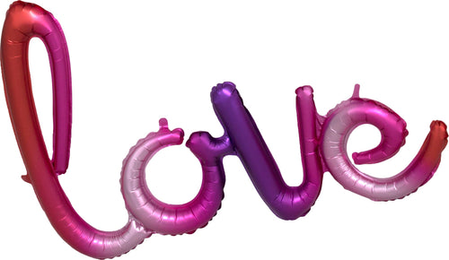 Air-Filled Ombre Love Cursive Letter Balloon Banner, 21in