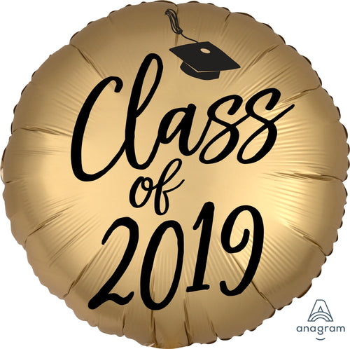 Black & Gold Class of 2019 Satin Graduation Balloon