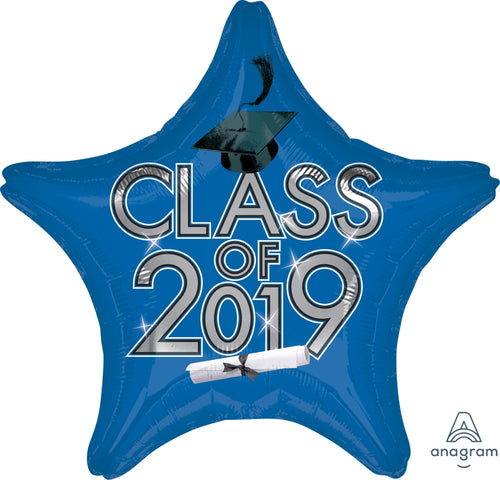 Blue Class of 2019 Graduation Star Balloon