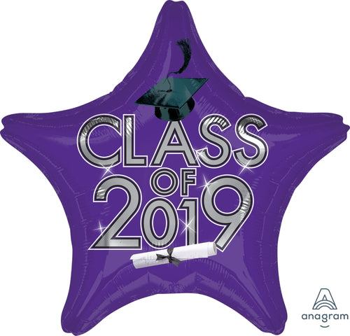 Purple Class of 2019 Graduation Star Balloon