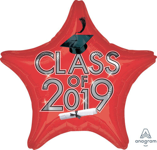 Red Class of 2019 Graduation Star Balloon