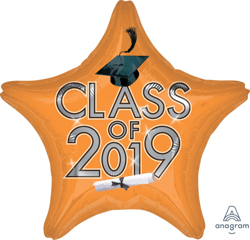 Orange Class of 2019 Graduation Star Balloon