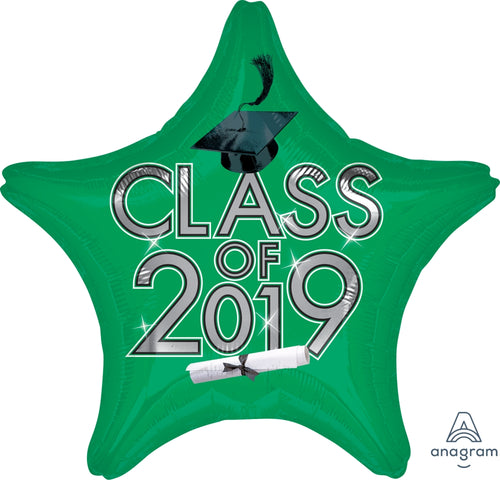 Green Class of 2019 Graduation Star Balloon