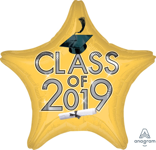 Gold Class of 2019 Graduation Star Balloon