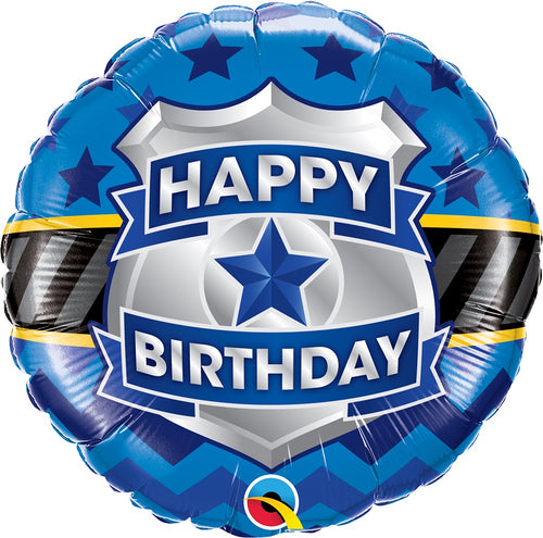 Happy Birthday Police Badge Mylar Balloon 18""