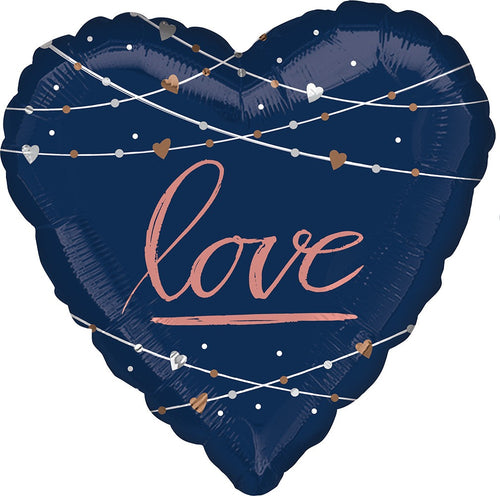 Giant Navy & Rose Gold Wedding Balloon 28""