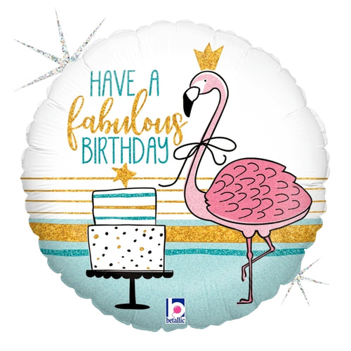 Flamingo Birthday Mylar Balloon 18""