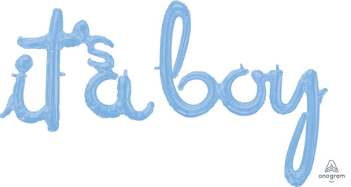 Air-Filled Baby Blue It's A Boy Cursive Letter Balloon Banners 2ct