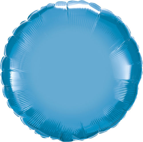 Chrome Blue Round Mylar Balloon 18""