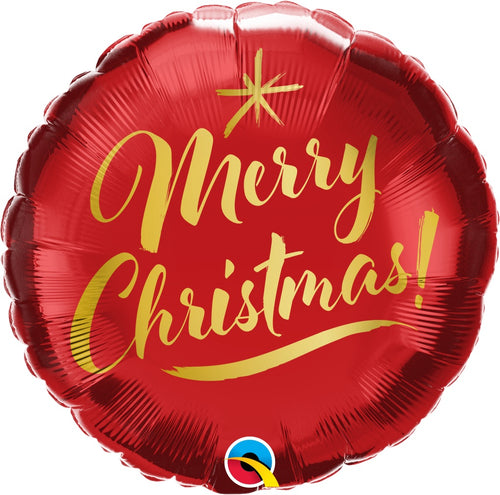 Merry Christmas Gold Script Mylar Balloon 18""