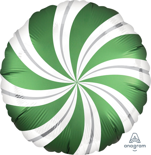 Satin Emerald Green Candy Swirl Balloon 18""