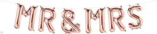Air Filled Mr & Mrs Rose Gold Balloon Kit