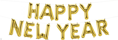 Air-Filled Gold Happy New Year Letter Balloon Kit