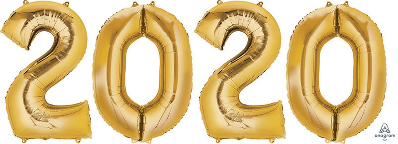 2020 Gold Number Balloon Bunch 34""